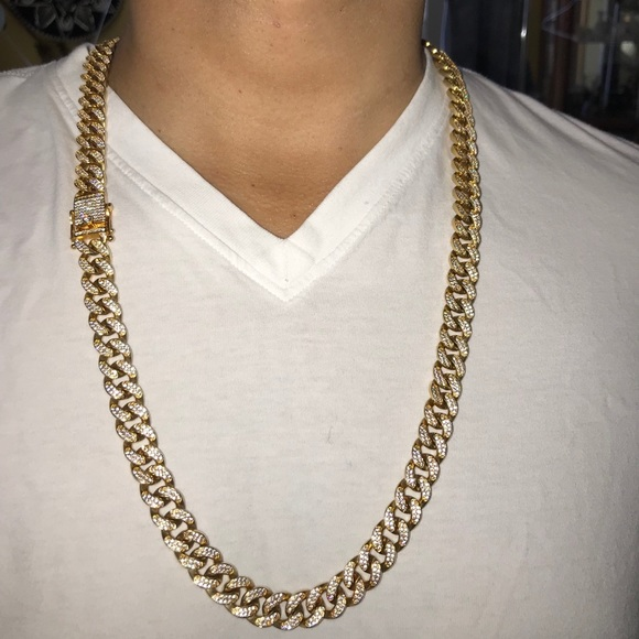 bb804e8ccb010 New 18k ICED OUT MIAMI CUBAN LINK, BOX CLASP NWT